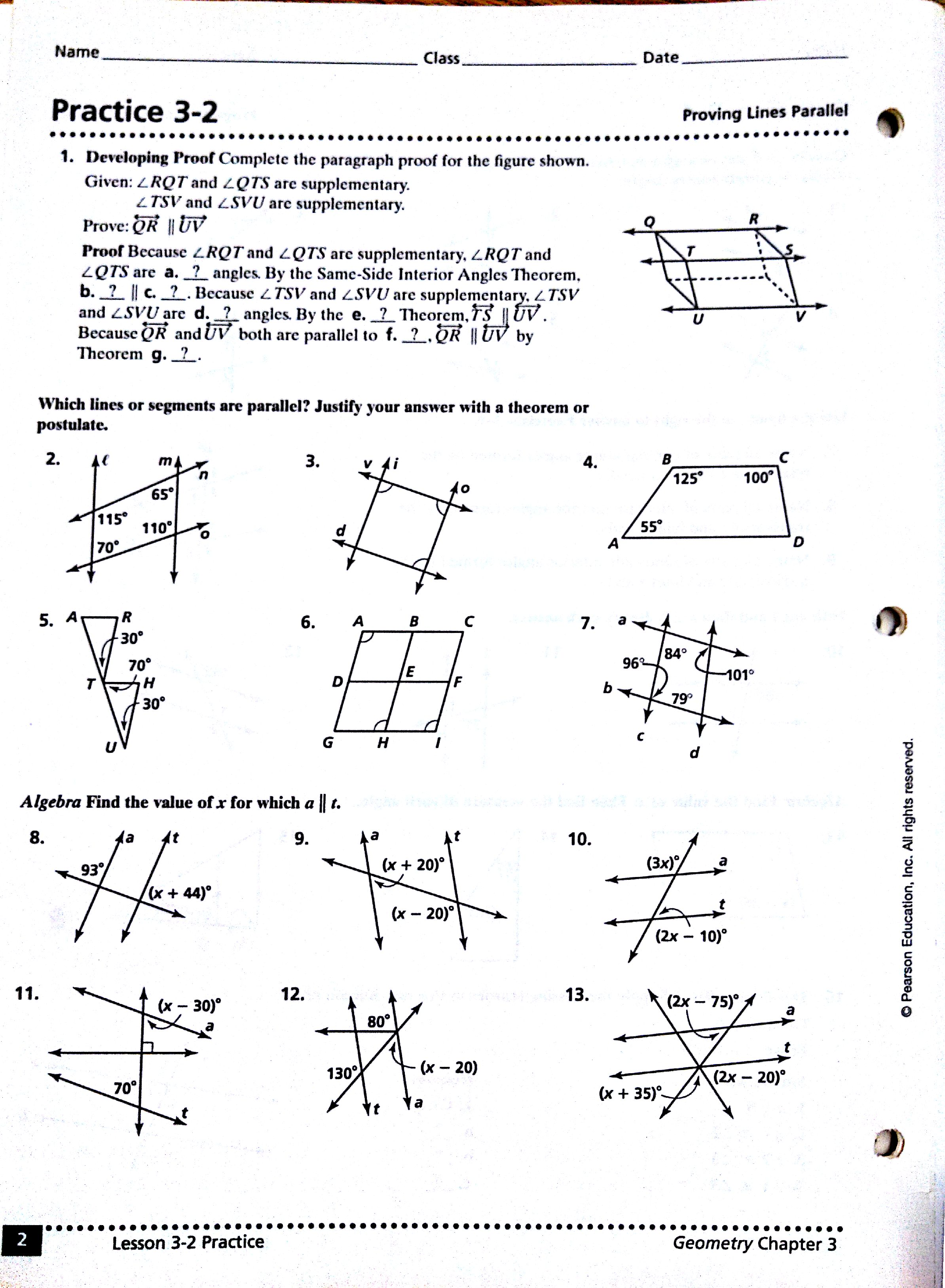 Worksheets MATH with Mrs Casillas – Parallel Lines and Transversals Worksheets